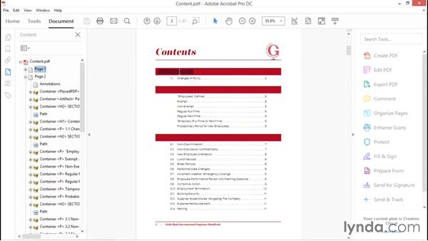 Working with the Content pane: Creating Accessible PDFs with Acrobat DC