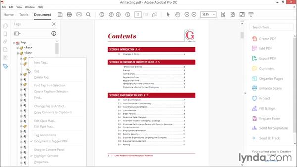 Artifacting elements: Creating Accessible PDFs with Acrobat DC