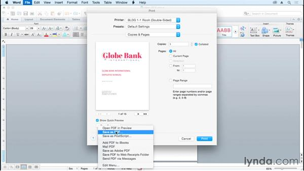 Generating a PDF file from Word on Mac (Mac only)