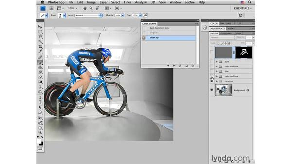 Sharpening and creating layer comps: Photoshop CS4 for Photographers: Creative Effects