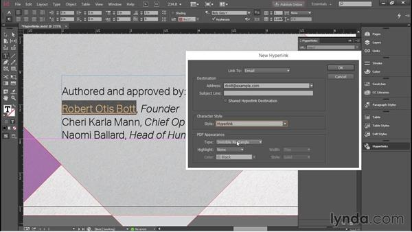 Adding interactive hyperlinks in InDesign: Creating Accessible PDFs with Acrobat DC