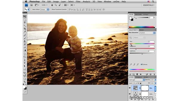 Adjusting color and tone in a sunset portrait: Photoshop CS4 for Photographers: Creative Color
