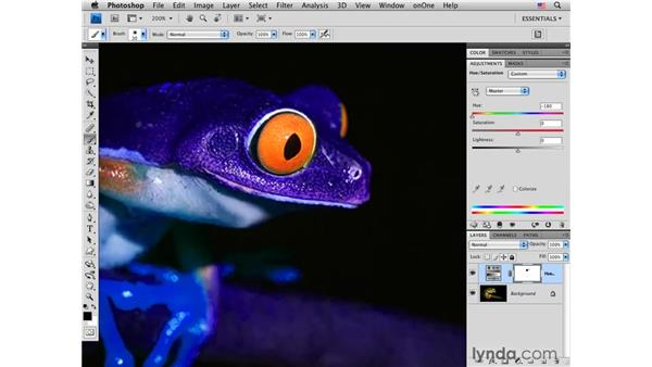 Changing color with Quick Mask mode and Hue/Saturation: Photoshop CS4 for Photographers: Creative Color