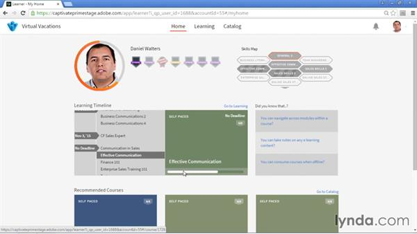 Learner dashboard: Adobe Captivate Prime: First Look