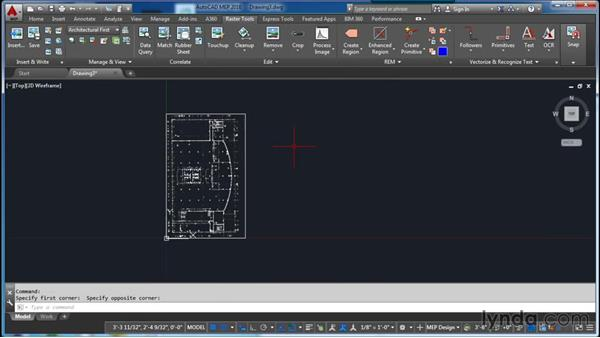 Inserting, aligning, and scaling an image: AutoCAD Raster Design Essential Training