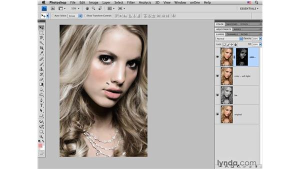 Model portrait: Creating a muted color and contrast effect: Photoshop CS4 for Photographers: Creative Color