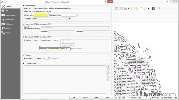 Exploring project properties: Up and Running with QGIS