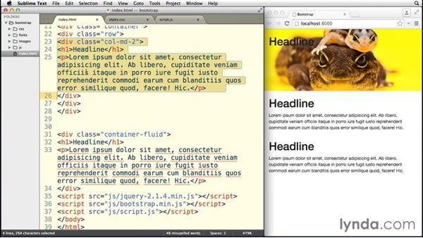 Creating columns: Bootstrap 3 Essential Training