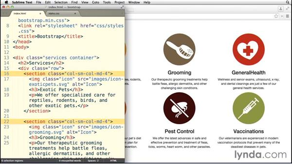 Using multiple column classes: Bootstrap 3 Essential Training