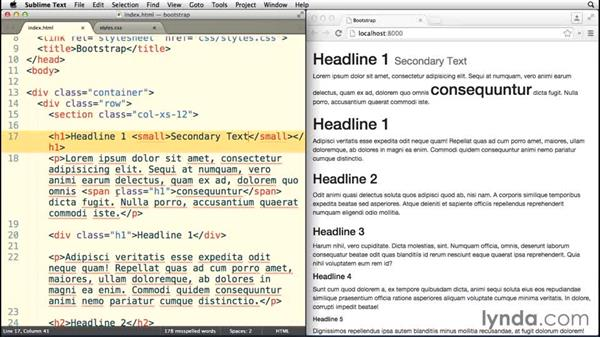 Styling headings and body copy: Bootstrap 3 Essential Training