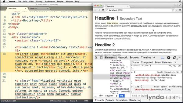 Analyzing inline text styles: Bootstrap 3 Essential Training