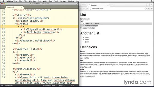 Working with list styles: Bootstrap 3 Essential Training