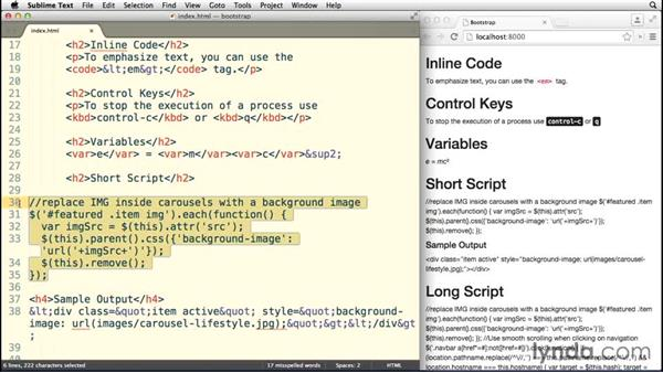 Styling code: Bootstrap 3 Essential Training
