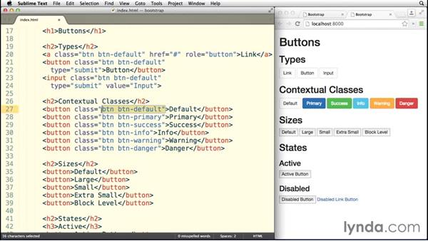 Working with Bootstrap buttons: Bootstrap 3 Essential Training