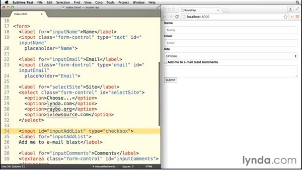 Creating a basic form: Bootstrap 3 Essential Training