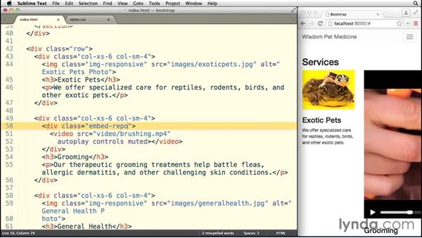 Flowing video with responsive embeds: Bootstrap 3 Essential Training