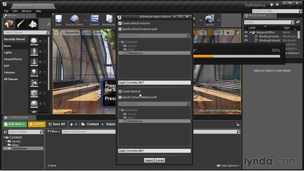Importing substances into a host application (Unreal Engine 4): Up and Running with Substance Designer
