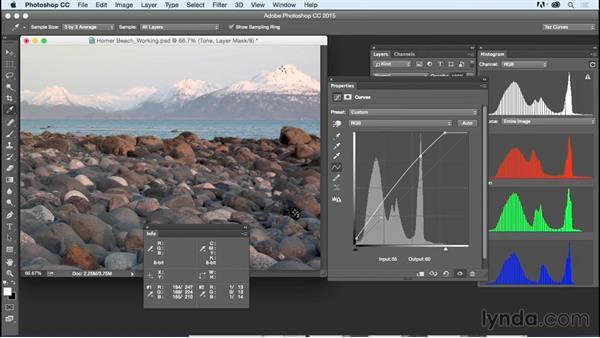 Solution: Correcting tone: Exploring Photoshop: Mastering Curves