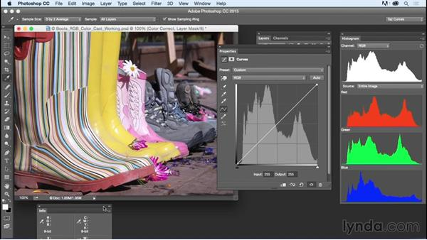 Setting up color adjustments based on color channels: Exploring Photoshop: Mastering Curves