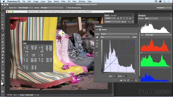 Achieving color adjustments based on color channels: Exploring Photoshop: Mastering Curves