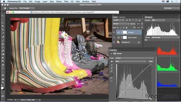 Adjusting color brightness and contrast: Exploring Photoshop: Mastering Curves