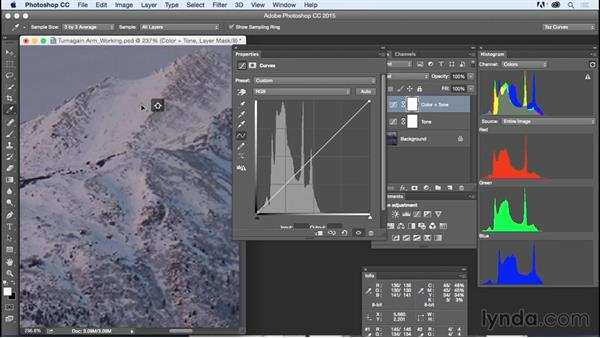 Solution: Correcting color: Exploring Photoshop: Mastering Curves