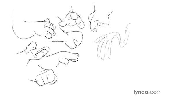 Drawing hand styles: Foundations of Drawing Cartoon Characters for Animation