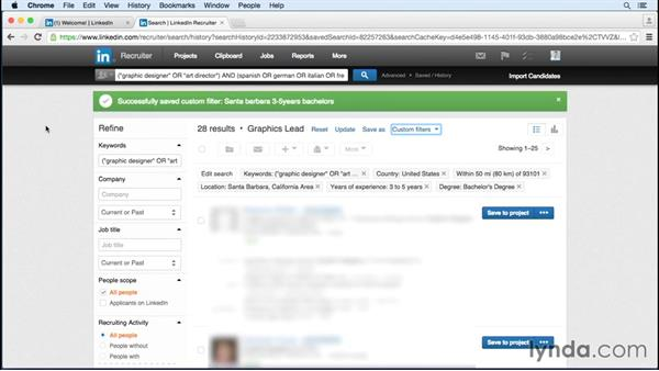 Saving searches and managing saved searches: Up and Running with LinkedIn Recruiter