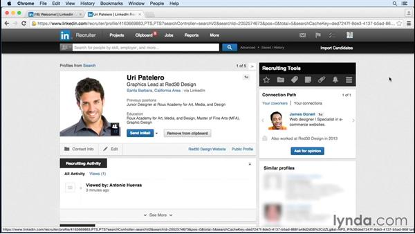 Saving candidates to a project or clipboard: Up and Running with LinkedIn Recruiter