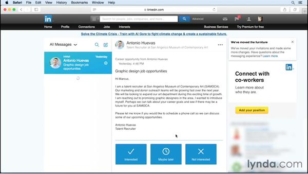 Viewing incoming messages from the candidate's perspective: Up and Running with LinkedIn Recruiter
