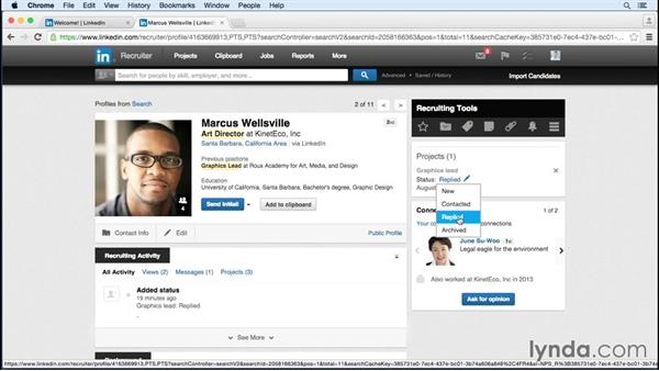 Checking message status and managing candidates: Up and Running with LinkedIn Recruiter