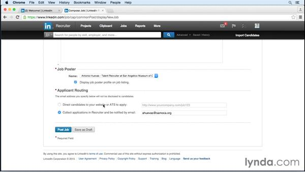 Posting a job and linking it to a project: Up and Running with LinkedIn Recruiter