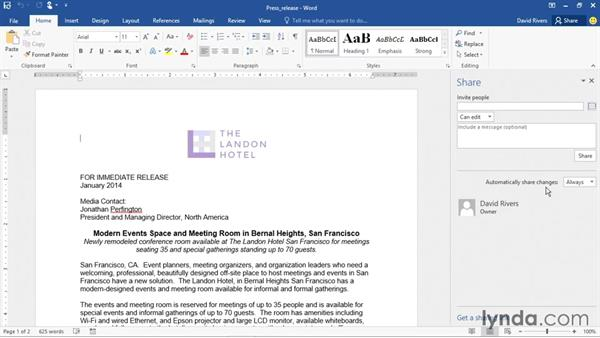 Sharing a document with others: Office 2016 and Office 365 New Features