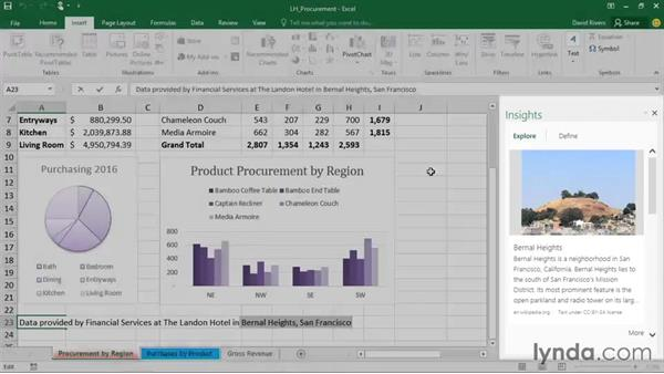 Accessing contextual information with Insights in Excel: Office 2016 and Office 365 New Features