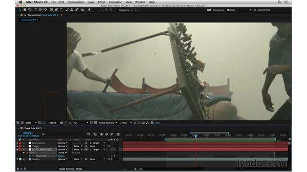 Apply the track to a matte: After Effects Compositing 06: Tracking and Stabilization