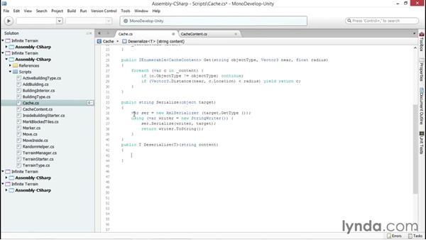 Serializing the cache: Unity 5 2D: Generate Procedural Terrain