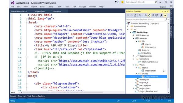 Reusing shared HTML markup with layouts: Up and Running with ASP.NET 5