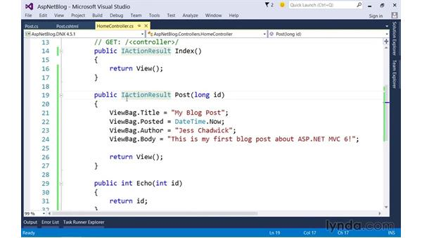 Rendering data with strongly typed views: Up and Running with ASP.NET 5