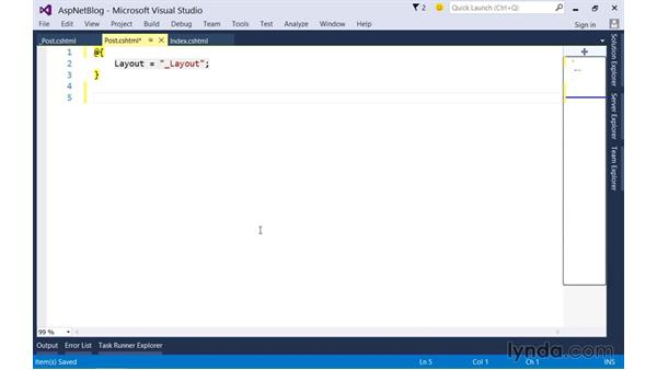 Reusing view markup with partial views: Up and Running with ASP.NET 5