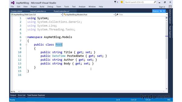 Posting form data to controller actions: Up and Running with ASP.NET 5