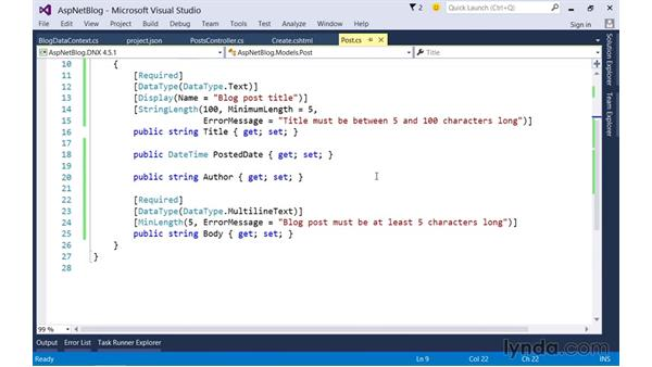 Representing the database using Entity Framework: Up and Running with ASP.NET 5