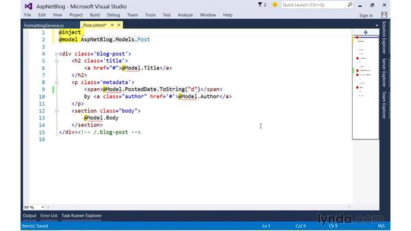 Reusing view logic with injectable properties: Up and Running with ASP.NET 5