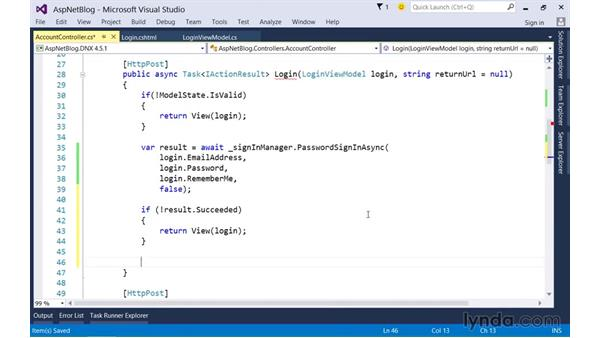 Using Identity Services to allow users to login to your site: Up and Running with ASP.NET 5