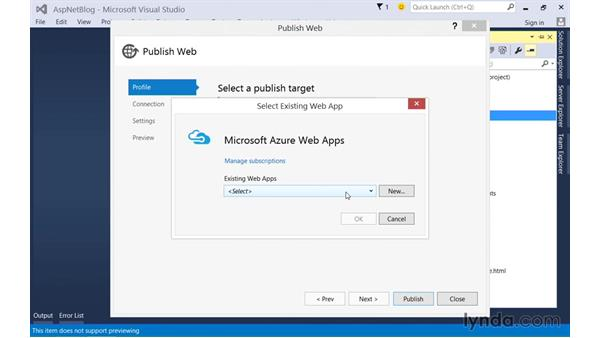 Deploying to Microsoft Azure via Visual Studio: Up and Running with ASP.NET 5