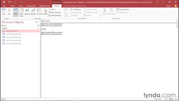 Creating a union query in SQL view: Access 2016 Essential Training