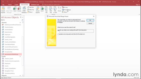 Setting up labels and mail merge documents in Word: Access 2016 Essential Training