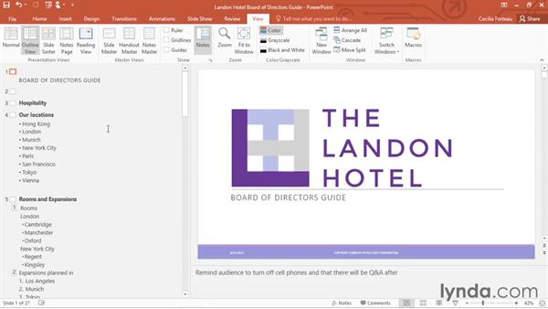Changing views and adding guides: Office 365: PowerPoint Essential Training