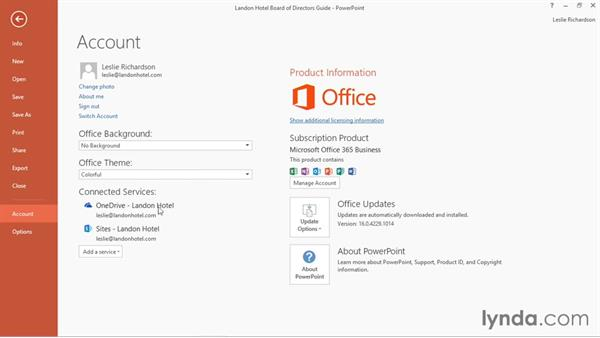 Connecting PowerPoint to your OneDrive account: Office 365: PowerPoint Essential Training