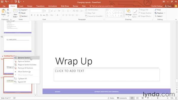 Organizing slides into sections: Office 365: PowerPoint Essential Training