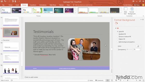 Matching a color to the PowerPoint color palettes using the Eyedropper tool: Office 365: PowerPoint Essential Training